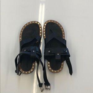 Isabel Marant Black Strapy Sandals Shoes